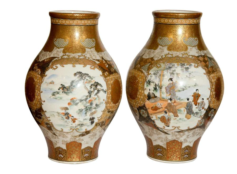 Pair of Meiji Period Japanese Kutani Vases