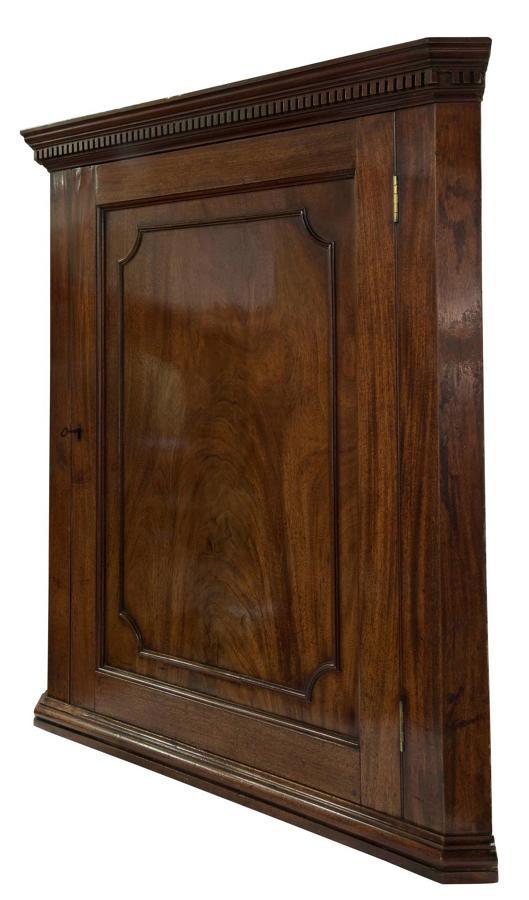 George III Mahogany Hanging Corner Cupboard