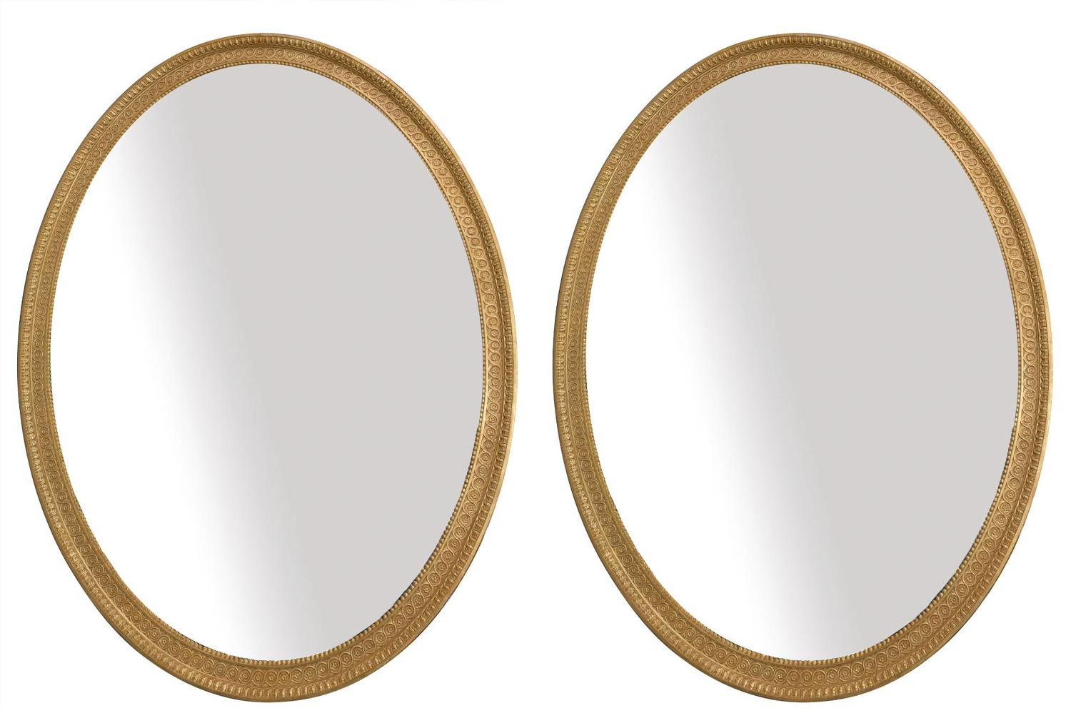 Pair  of George III Style Oval Mirrors