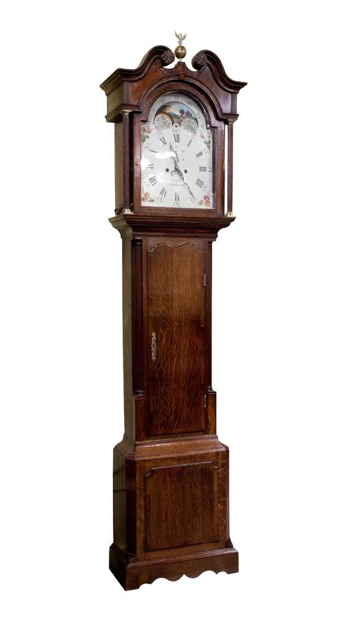 18thC 8 Day painted dial oak longcase clock