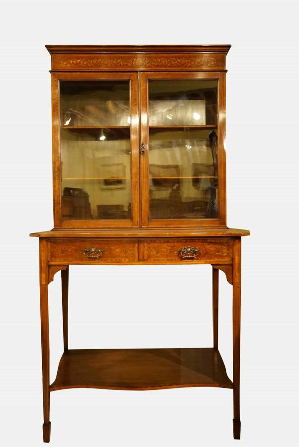 A Mahogany & Marquetry Cabinet on Stand