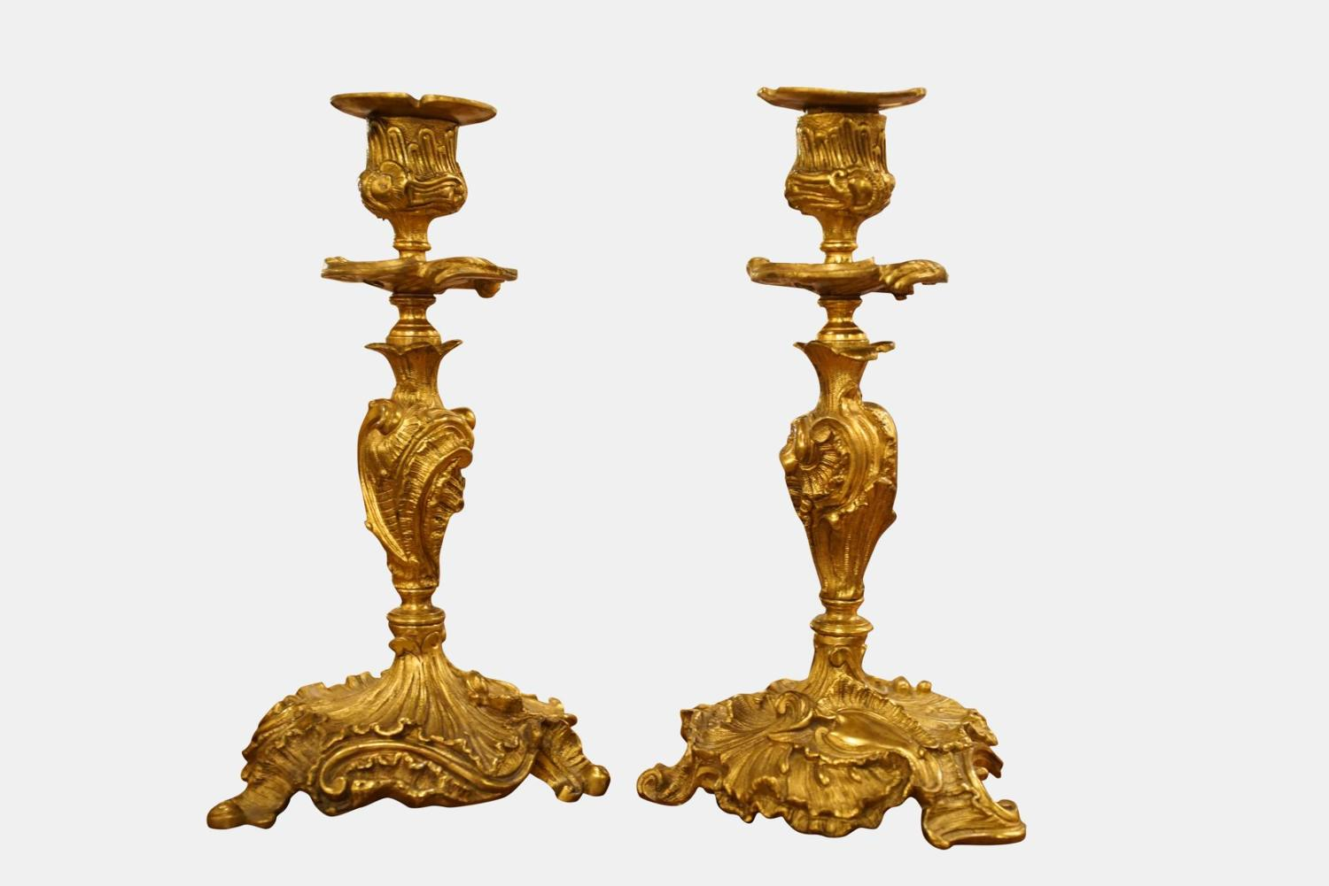 Pair of Louis XV Style Gilt Bronze Candlesticks