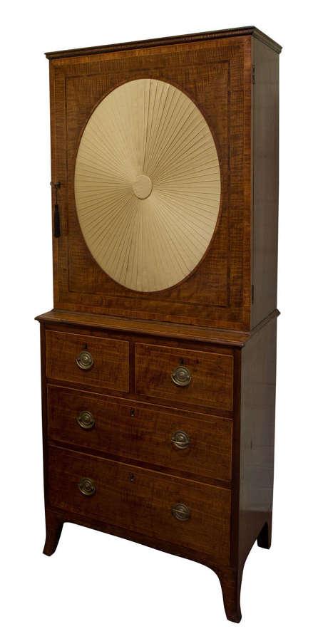 George III Sheraton Period Fiddleback Cabinet