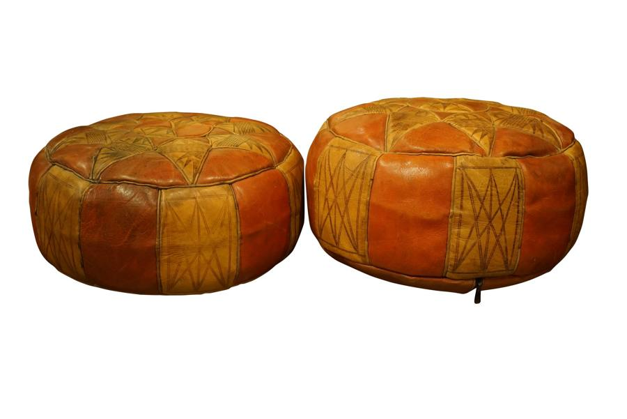 2 Moroccan Leather Puffs