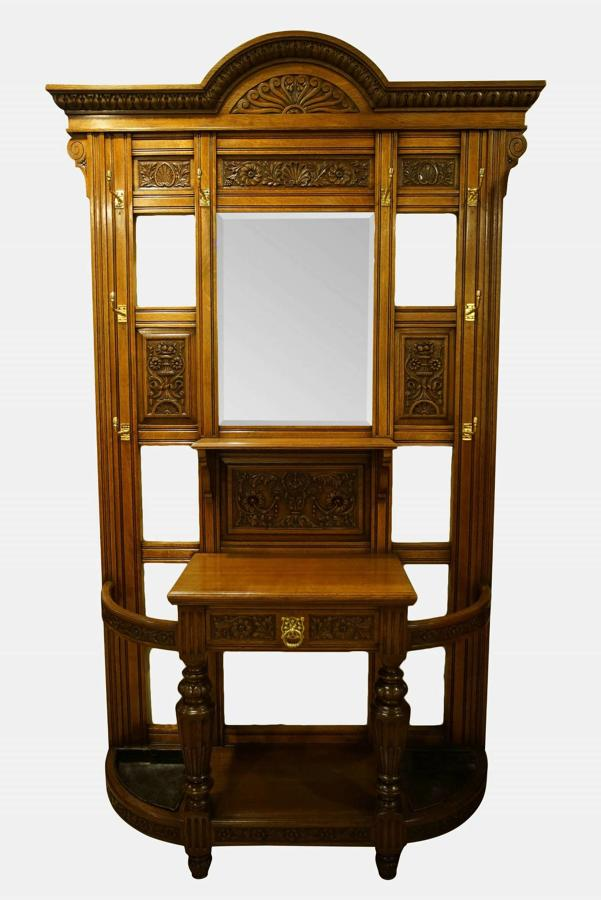 Oak and Brass Hall Stand