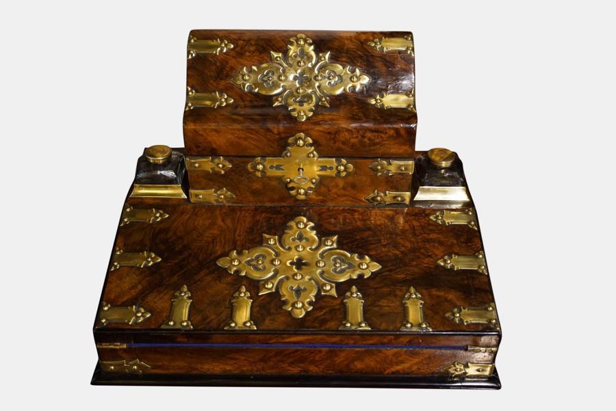 Brass Mounted Walnut Writing Box C1860