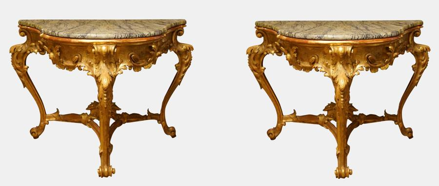 A Pair of Italian Carved Giltwood Console Tables