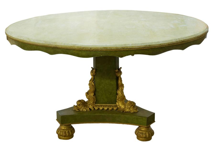 Green vernis martin& gilded decorated circular centre table