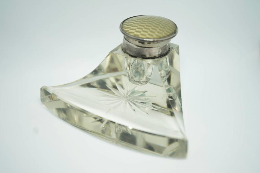 Glass, Silver, and Enamel Inkwell