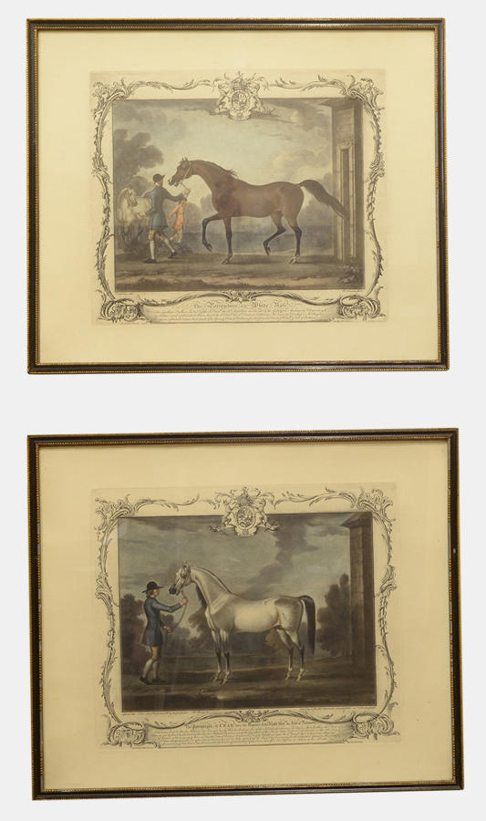 Pair of Antique Engravings of Racehorses