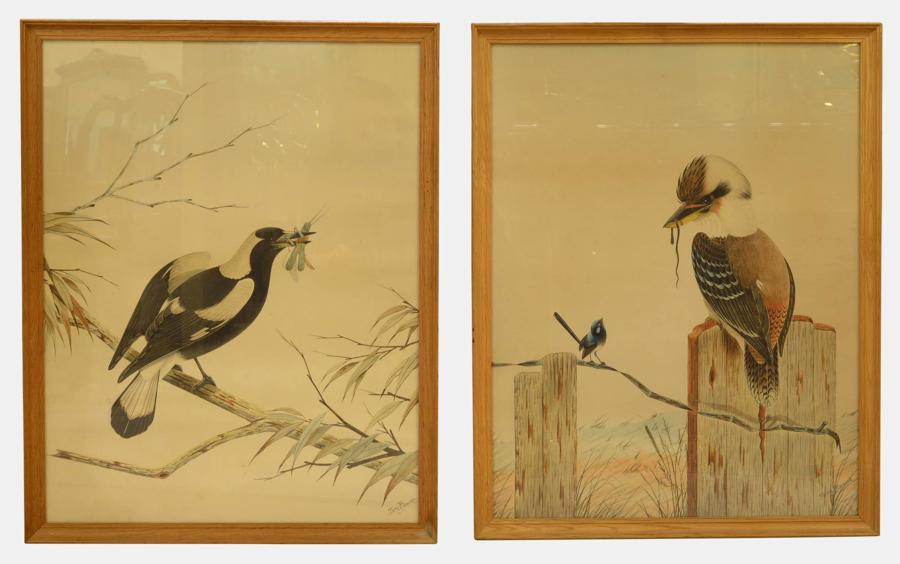 Pair of Australian Watercolours by Tom Howers