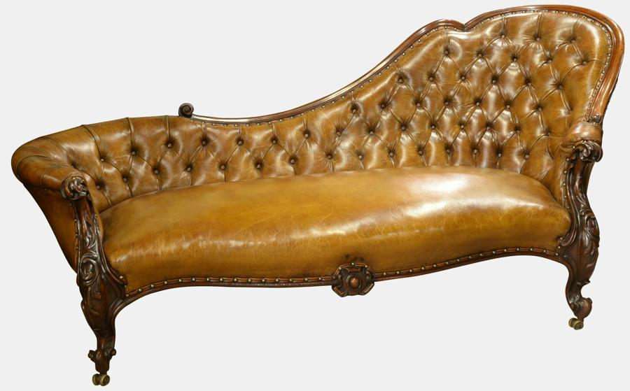 Deep Buttoned Chestnut Leather Chaise Longue