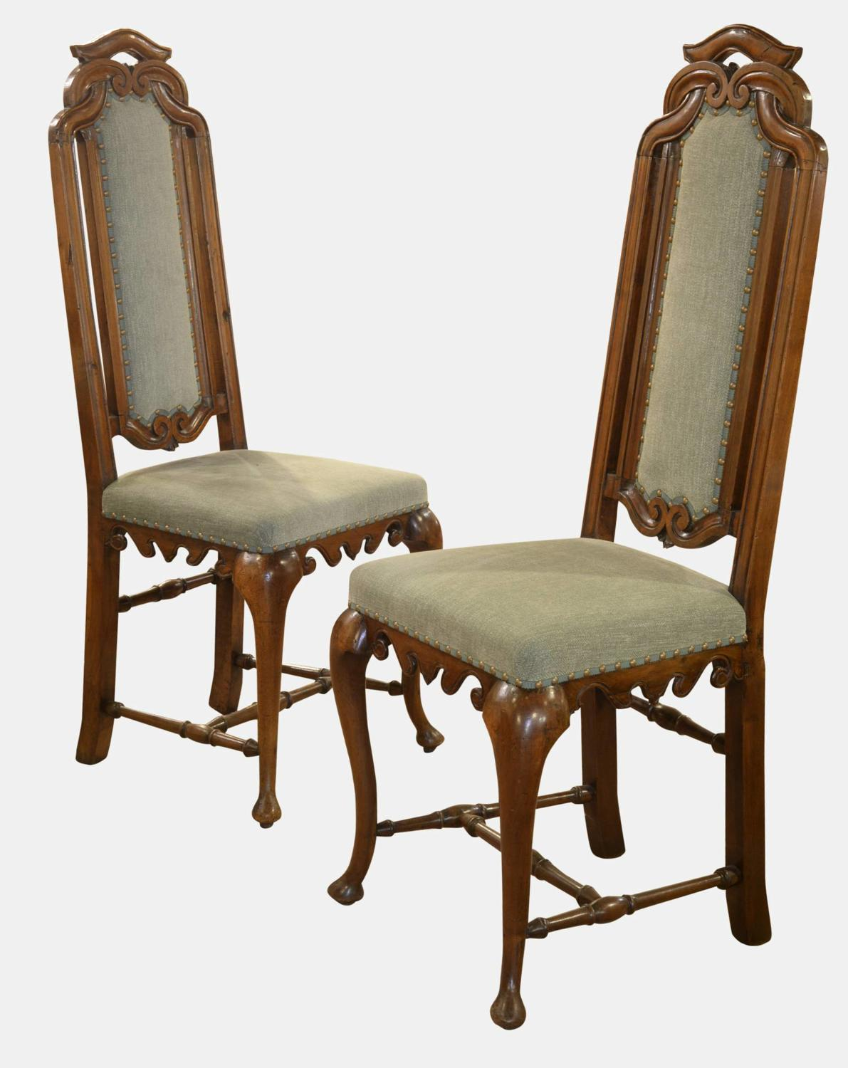 Pair of 19th Century High Backed Side Chairs