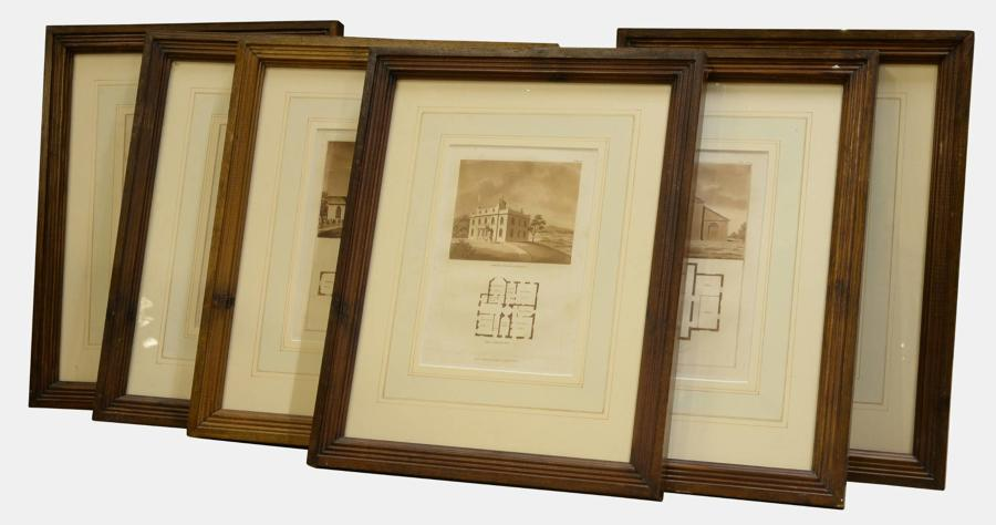 Set of 12 sepia prints
