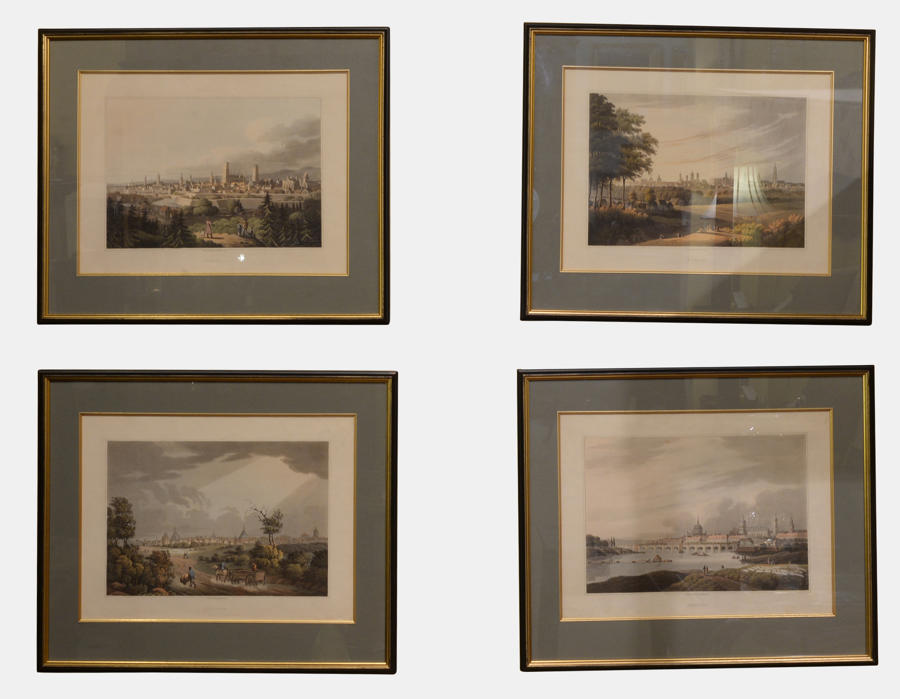 Set of 4 Coloured Lithographs of German Cities