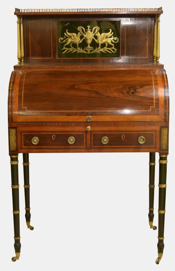 Mahogany Cylinder Desk with Églomisé Panel