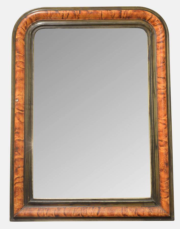 French Faux Tortoiseshell Painted Mirror