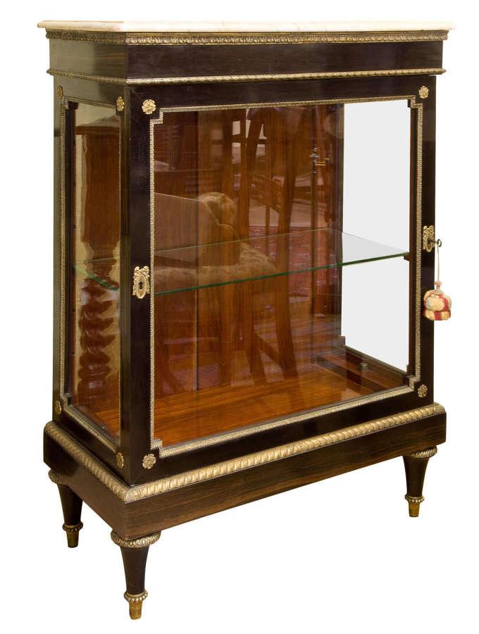 19thc French coromandel and mahogany display cabinet