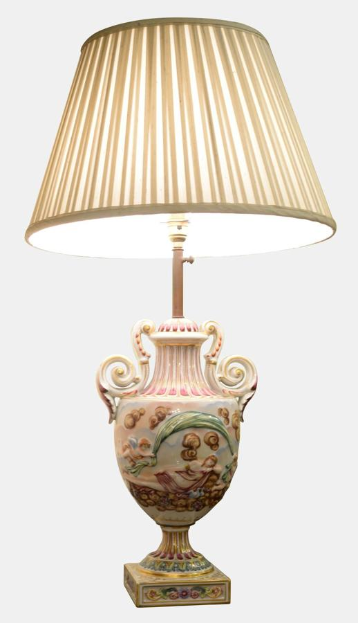 Early 20th Century Italian Porcelain Lamp