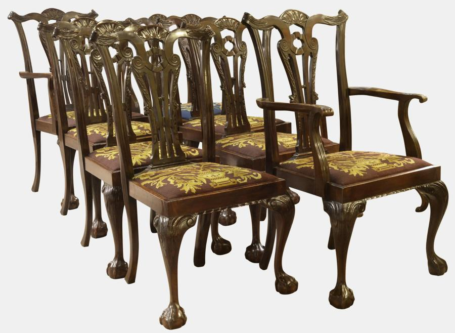 Set of 8 Irish Chippendale Style Dining Chairs