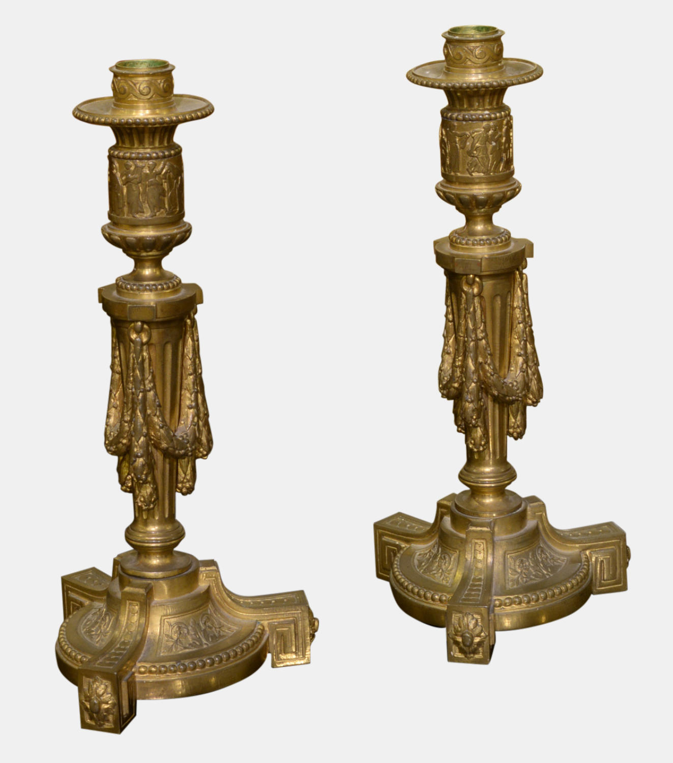 Pair of French Louis XVI Gilt Bronze Candlesticks
