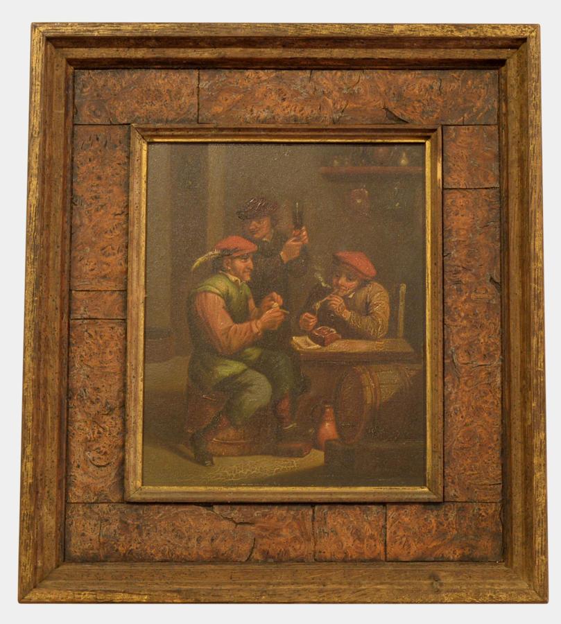 19th Century Oil on Panel of Tavern Scene