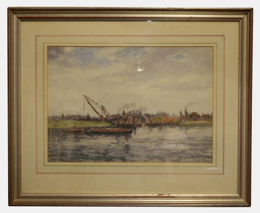 19th Century Watercolour of Boats