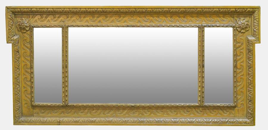 Carved Pine Overmantel Mirror