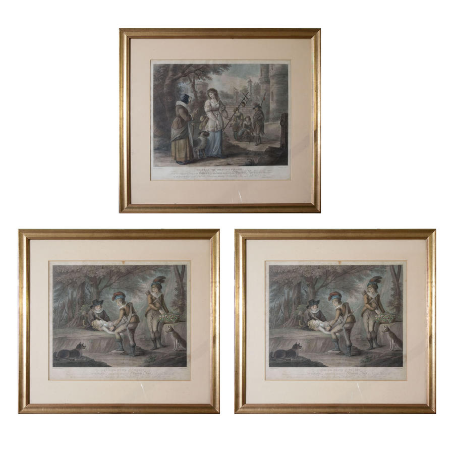 3 aquatint prints of Shakespearean scenes
