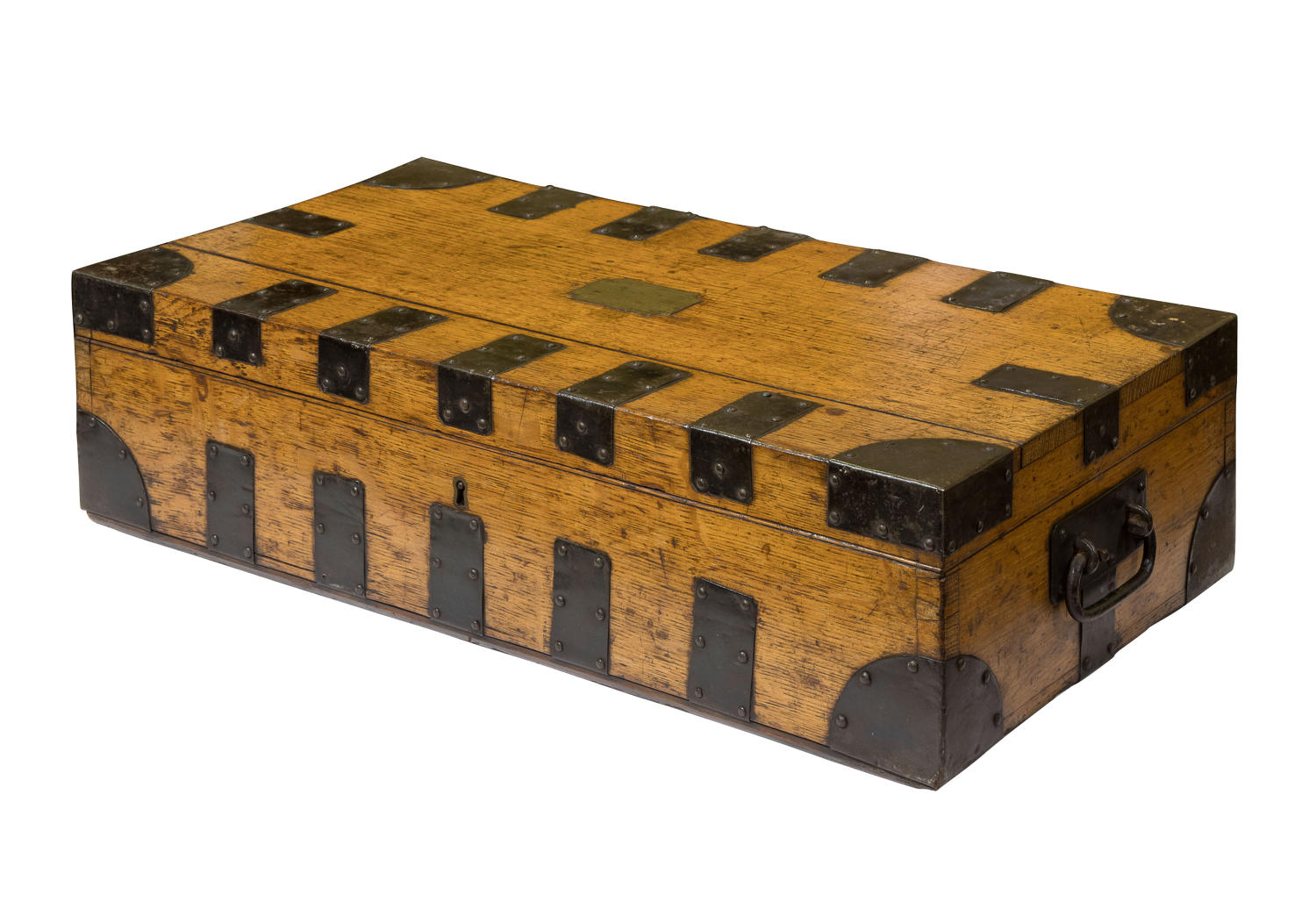 Oak and iron bound silver cutlery campaign chest