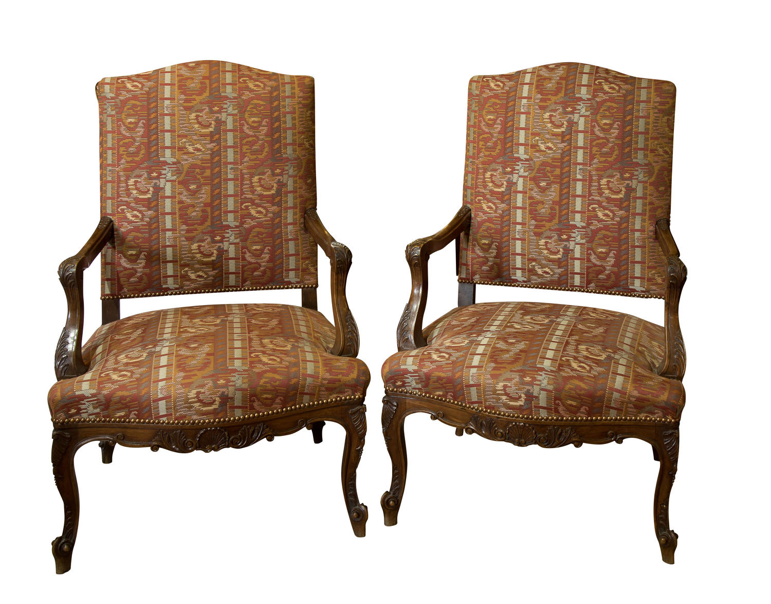 Pair of French Provence library chairs