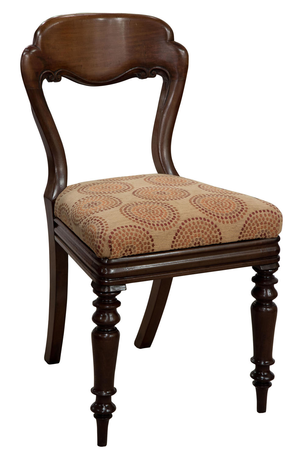 Six Victorian balloon back dining chairs