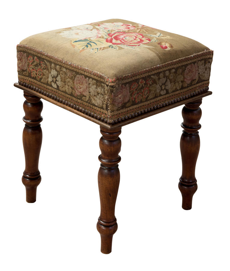 Victorian stool with embroidery