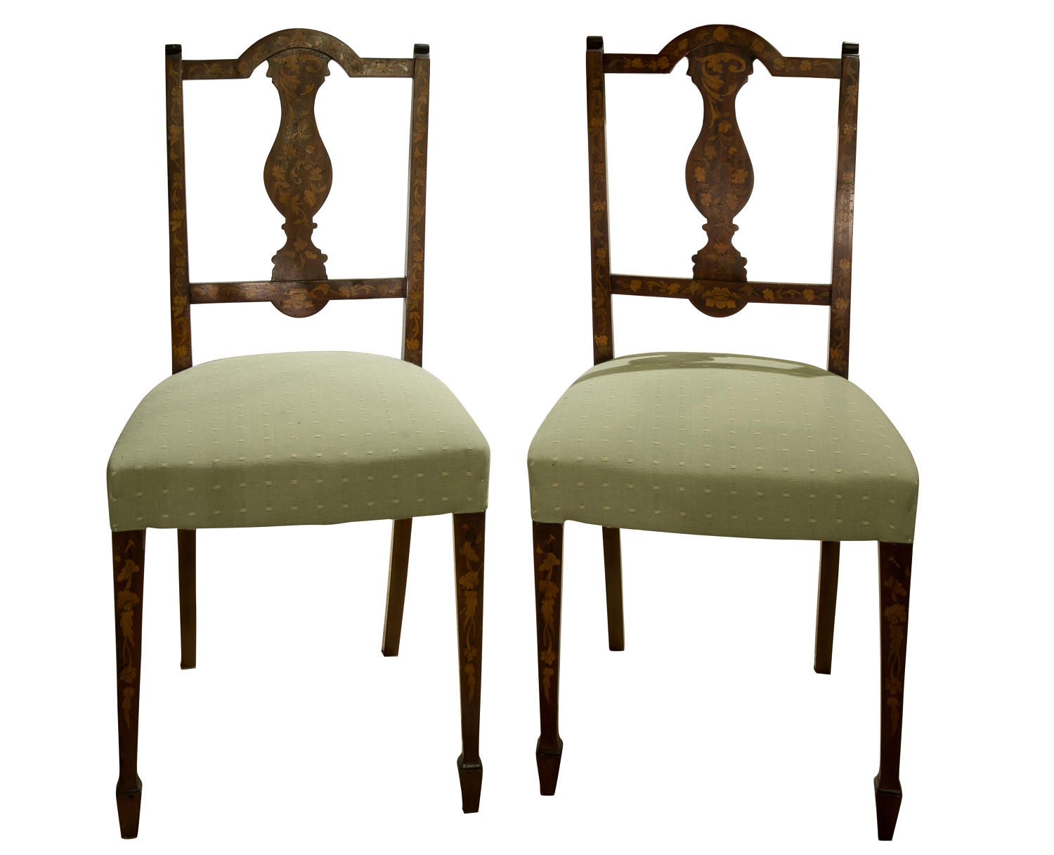 A pair of marquetry side chairs