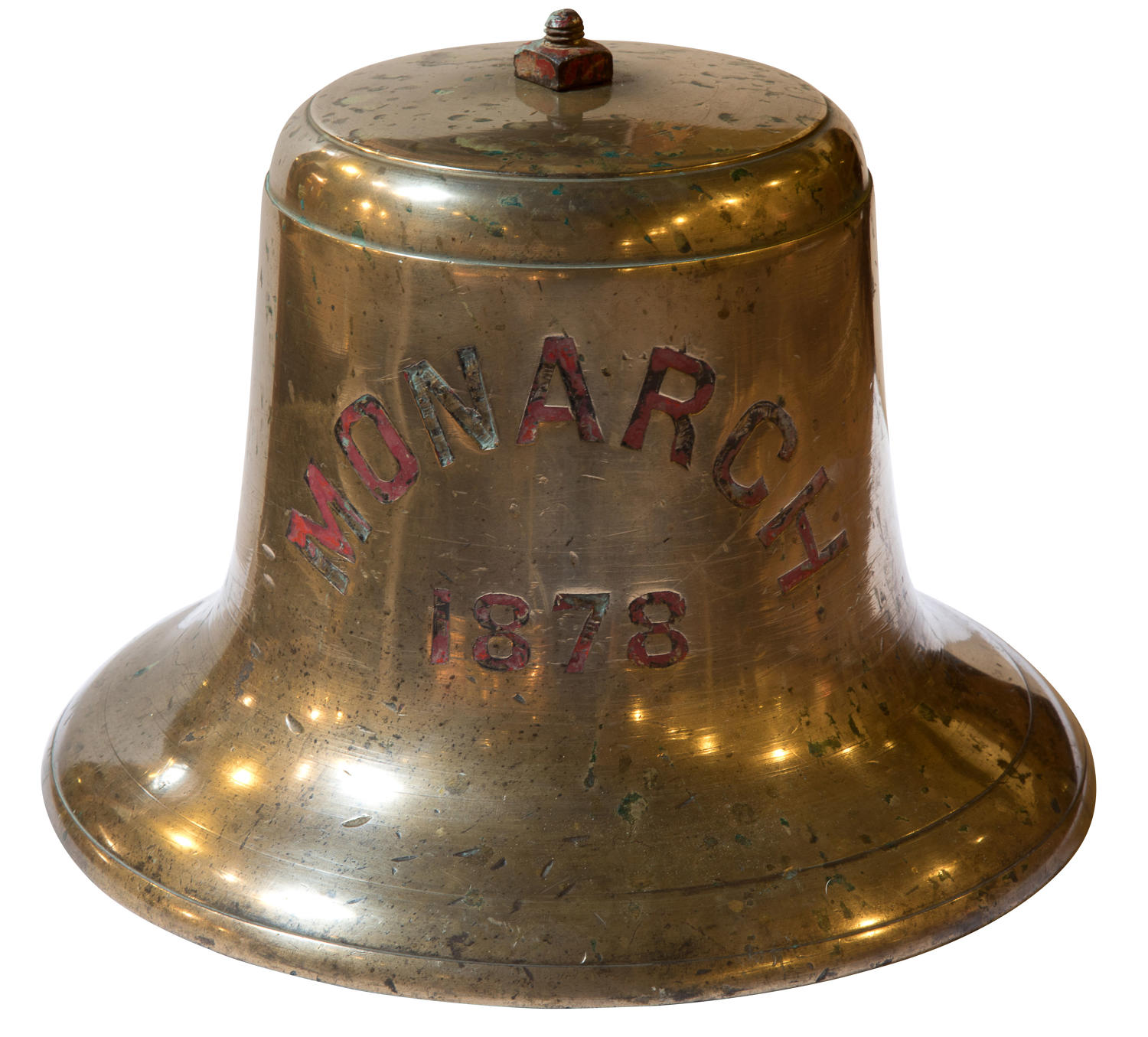 A bronze ships bell from HMS Monarch dated 1878