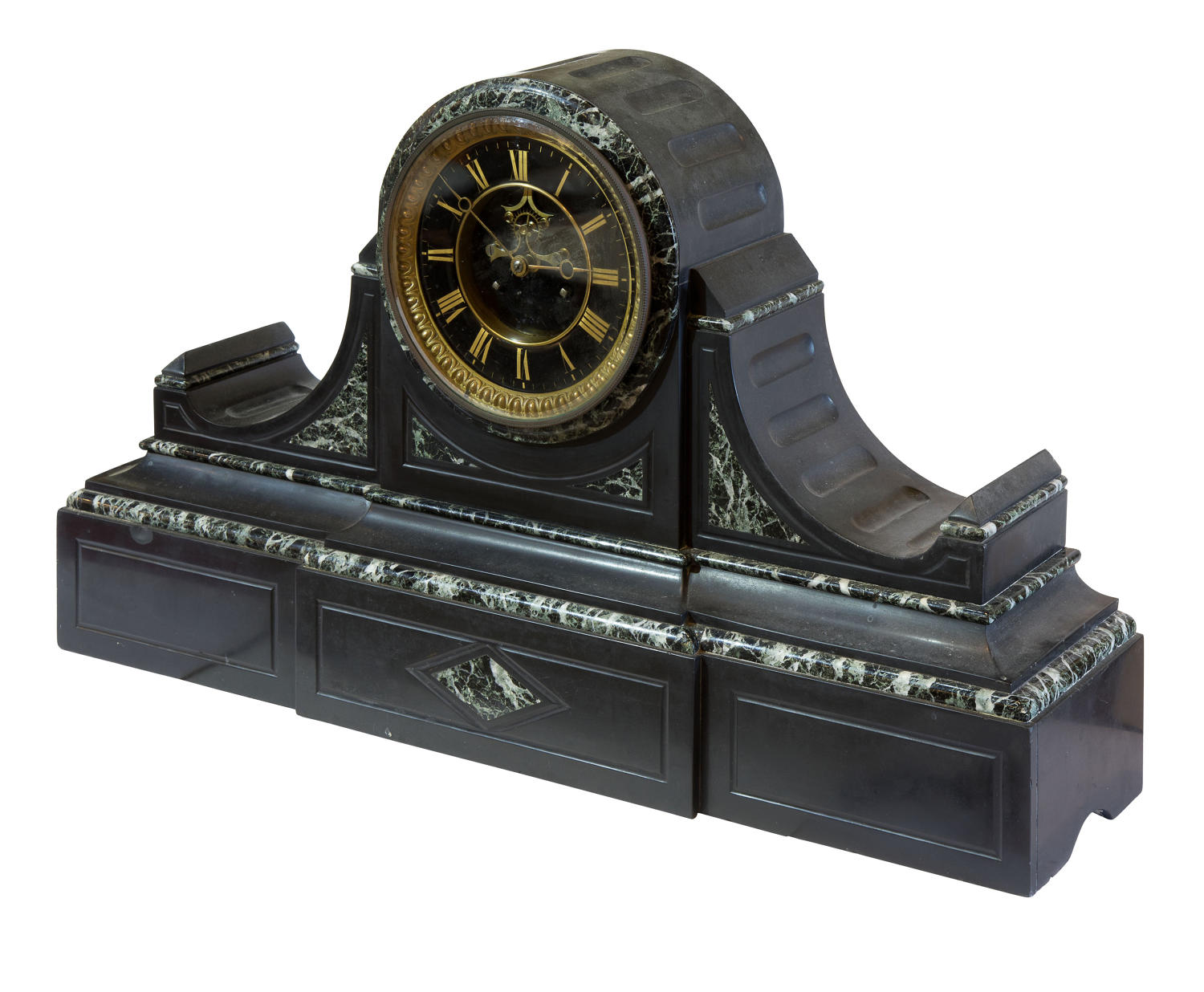 French mantel clock in a polished slate and green marble case