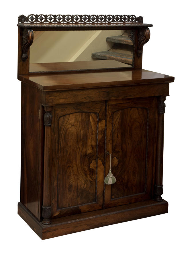 A William IV rosewood chiffonier with mirrored back