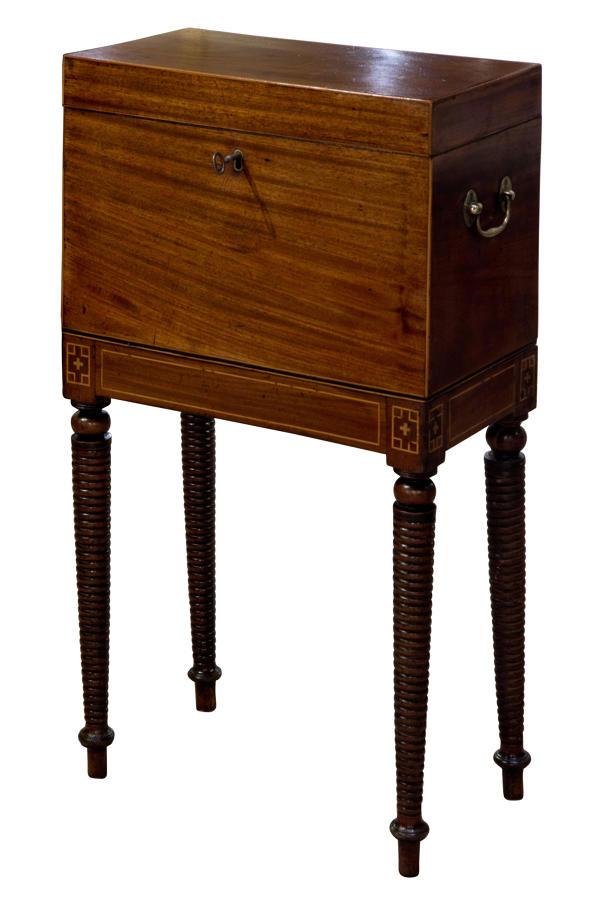 A George III mahogany boxwood teapoy