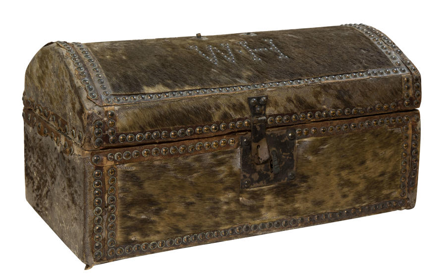 Regency Ponyskin domed travel trunk in comparatively good condition.