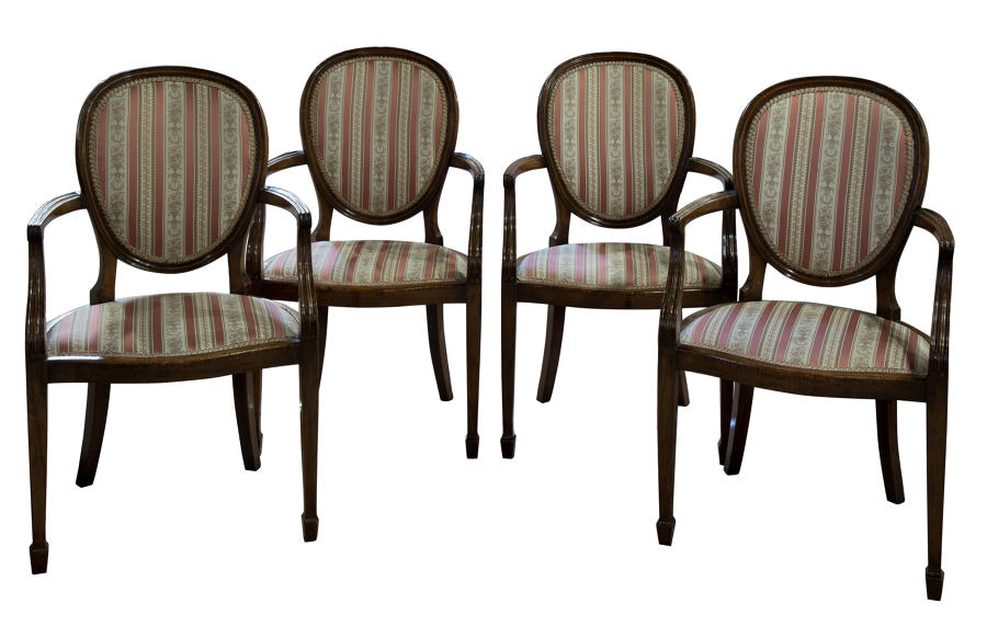 Set of 4 French mahogany balloon back carver chairs