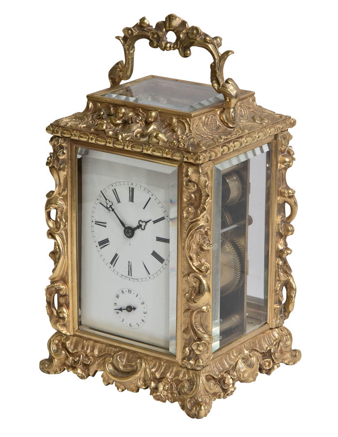 French carriage clock by H. Azur of Paris c 1890