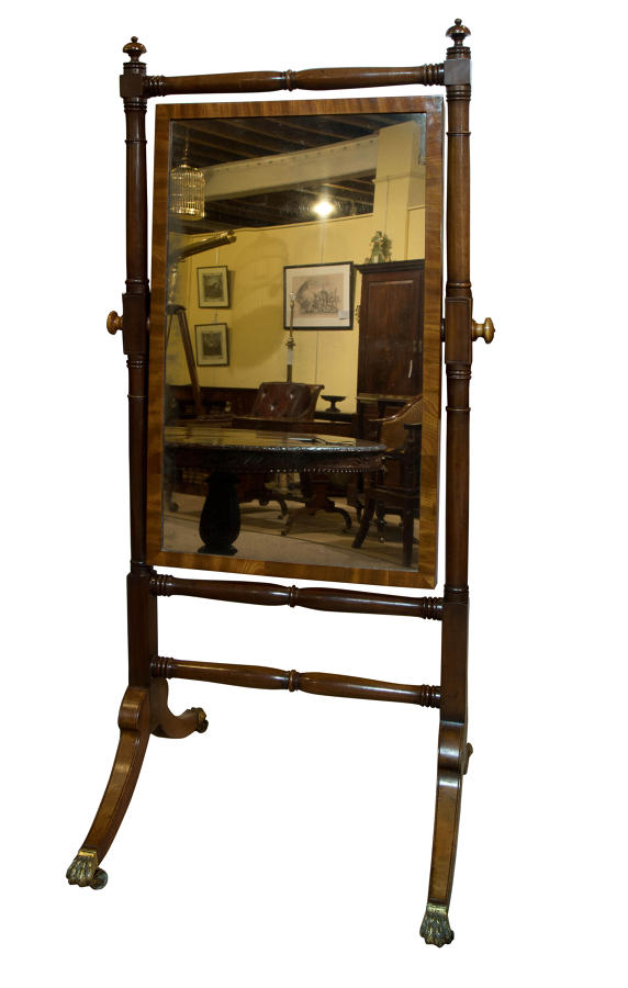Regency mahogany framed cheval mirror c1810