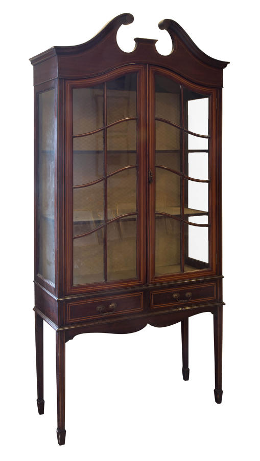Edwardian mahogany string inlaid  display cabinet