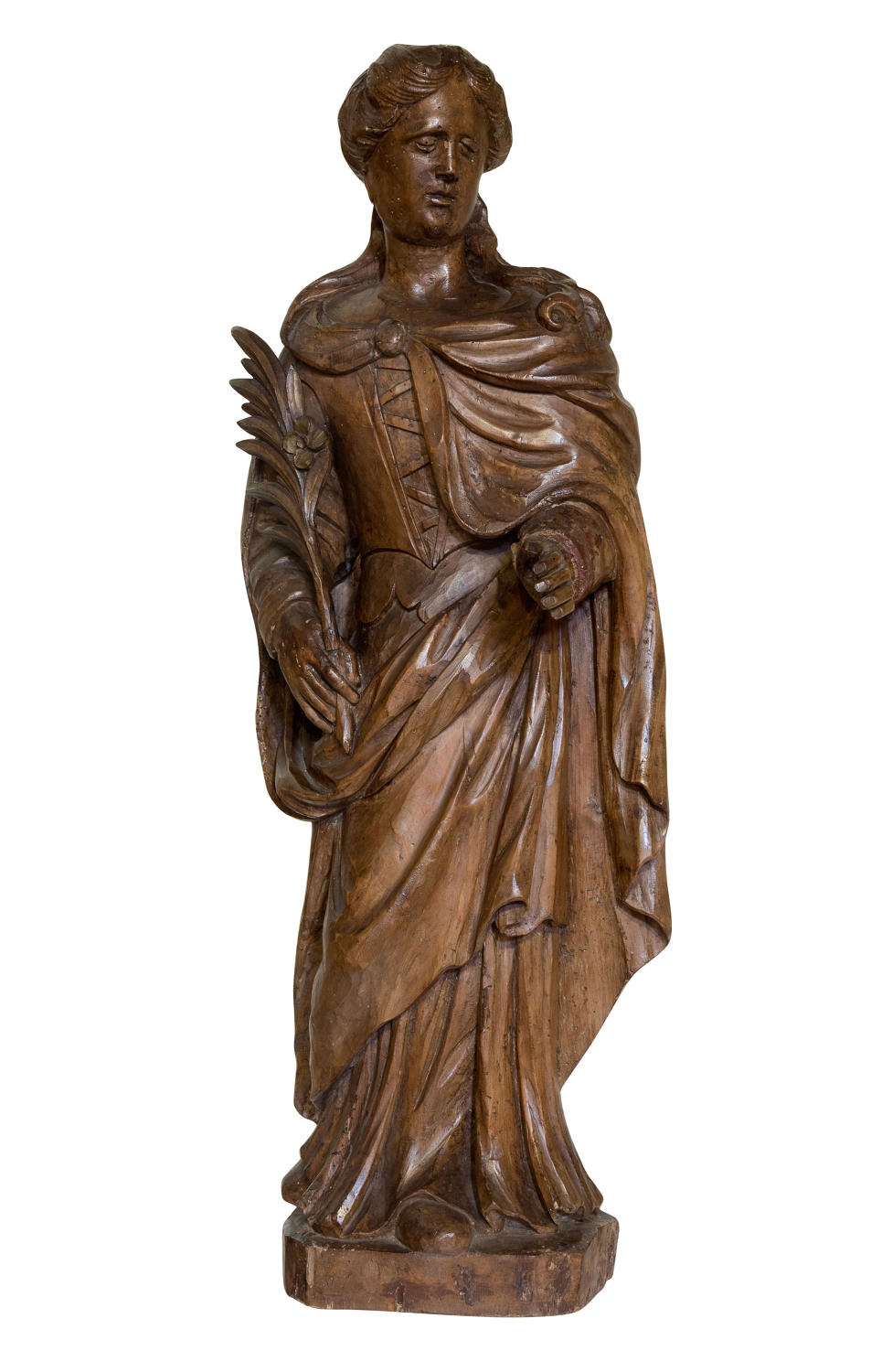 Carved limewood figure of St Catherine of Alexandria 17thc