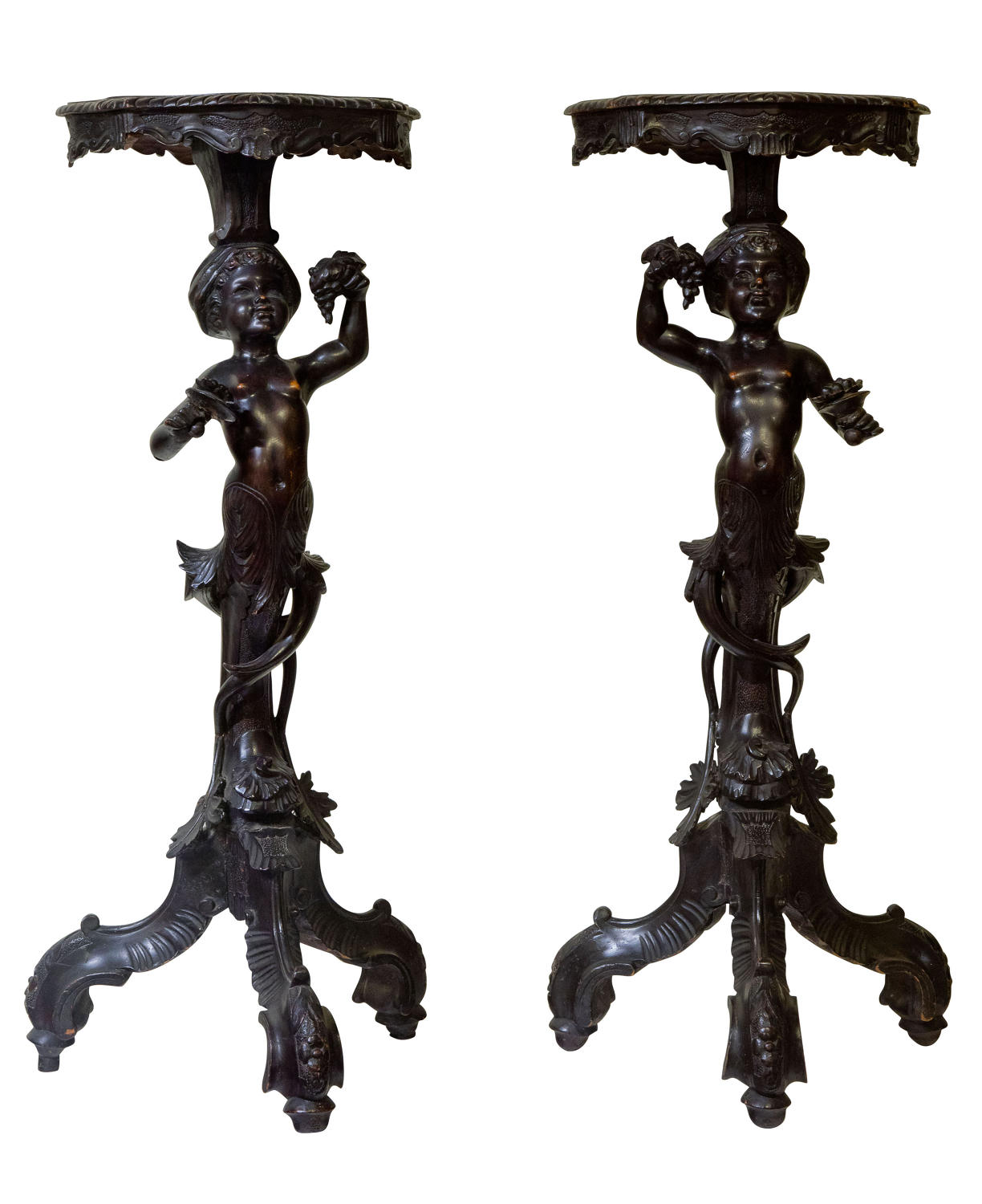 Pair of Italian carved Torcheres c1890