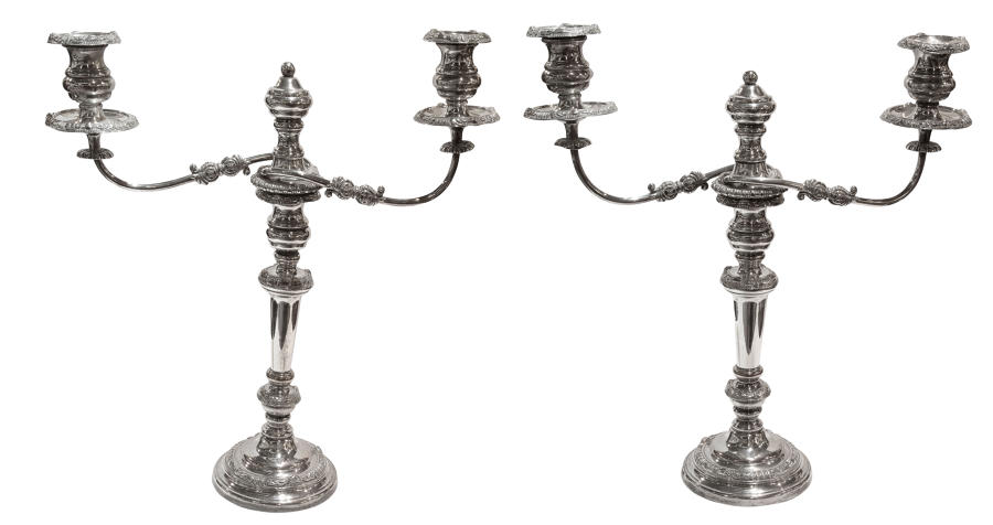 Pair of old sheffield plate candelabrum