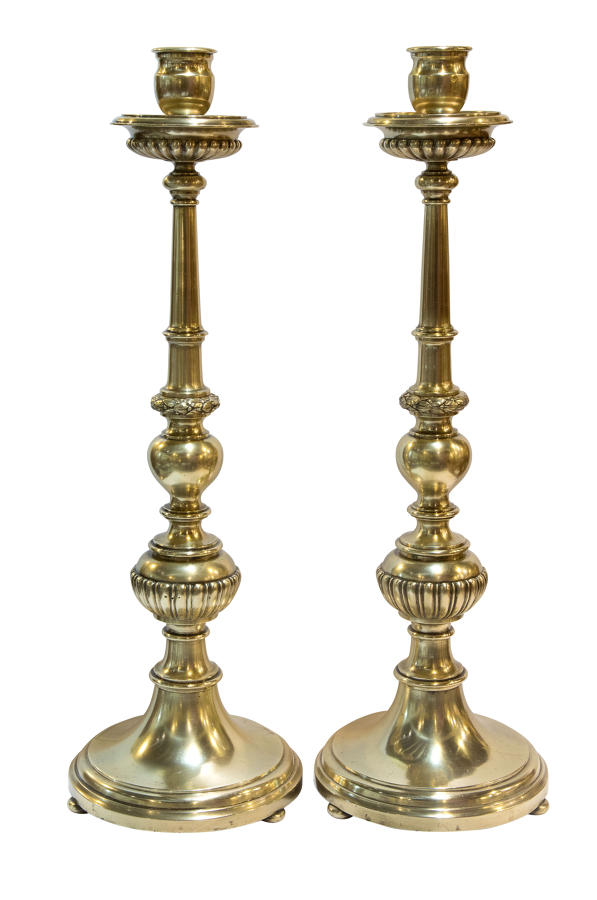 Pair of cast brass candlesticks c1900