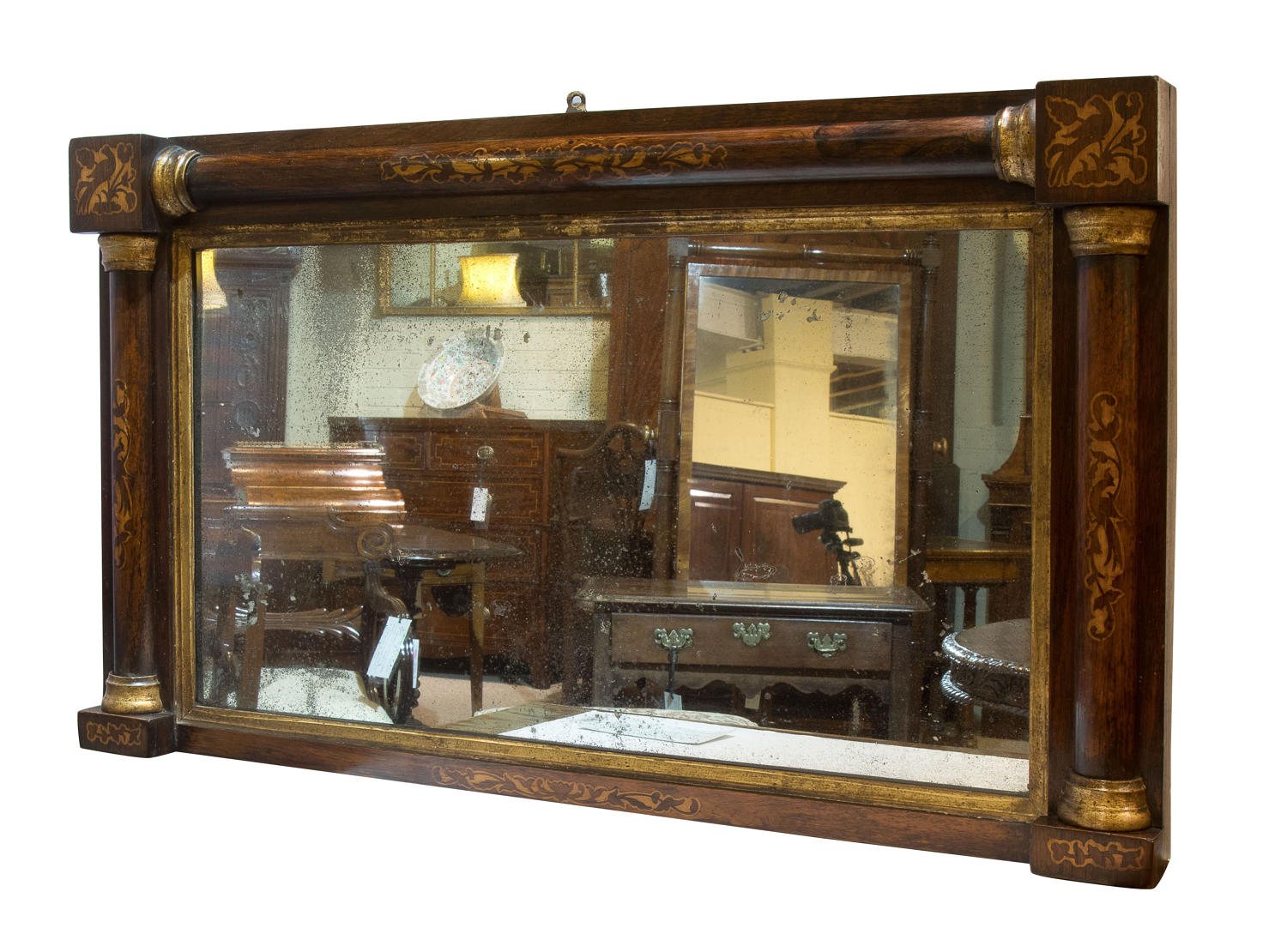 Rosewood and marquetry mirror c1840