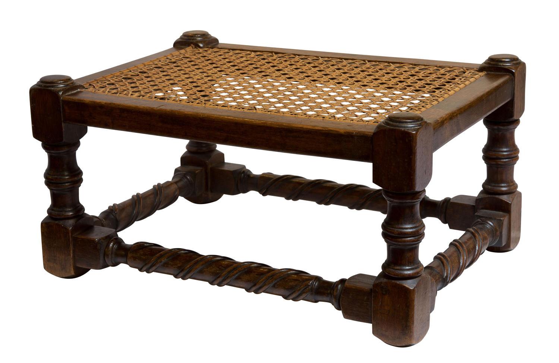Rectangular chestnut framed stool c1920
