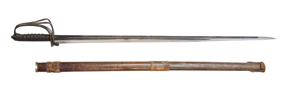 Royal Artillery officers sword in its leather field scabbard c1910